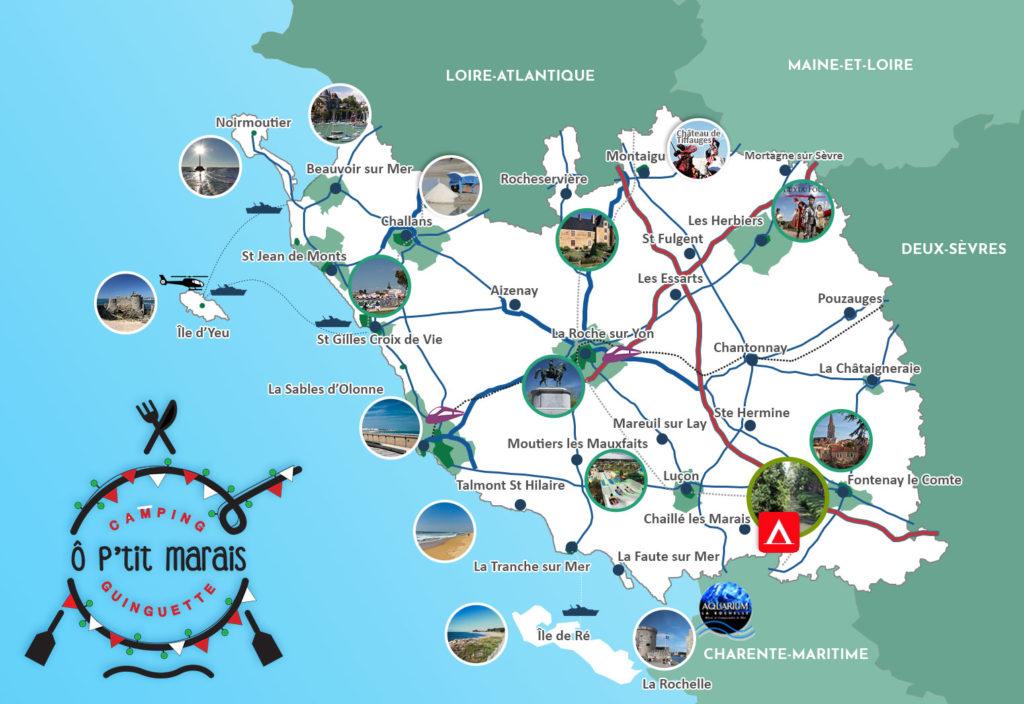 Carte touristique de la Vendée